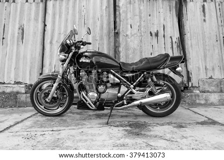 Subotica, Serbia - February 20th, 2016: Photo shoot of Kawasaki ZR 1100 Zephyr A1 bike from 1992, close up shoot of side of the bike, exhaust and chrome parts.