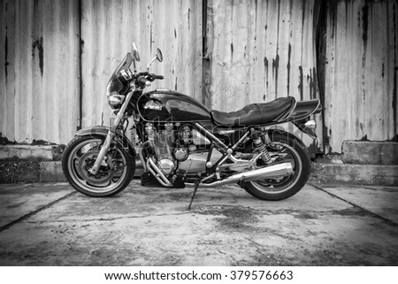 Subotica, Serbia - February 20th, 2016: Photo shoot of Kawasaki ZR 1100 Zephyr A1 bike from 1992, close up shoot of a motorcycle outdoors in front of the garage.Four stroke transverse four cylinder.