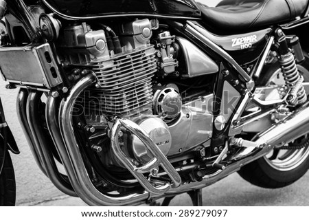 Subotica, Serbia - Jun 13, 2015: Photo shoot of Kawasaki ZR 1100 Zephyr A1 bike from 1992, close up shoot of front of a bike, motor and and chrome parts.Black and white photo.
