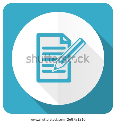 subscribe blue flat icon write sign  - stock photo