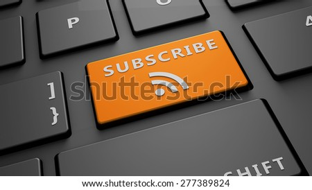 subscribe button keyboard - stock photo
