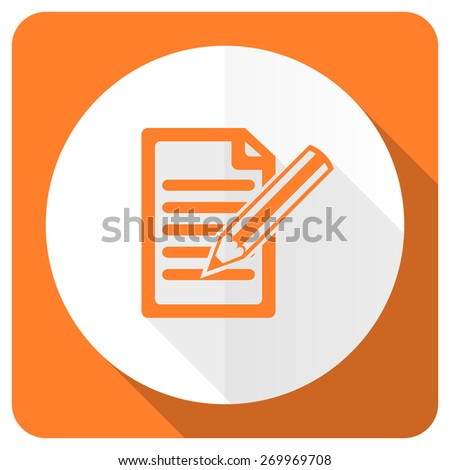 subscribe orange flat icon write sign  - stock photo
