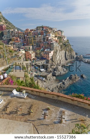 Subset on Manarola, traditional italian village