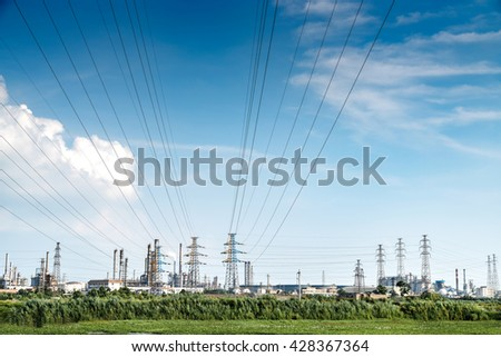 Substation in the blue sky white cloud background