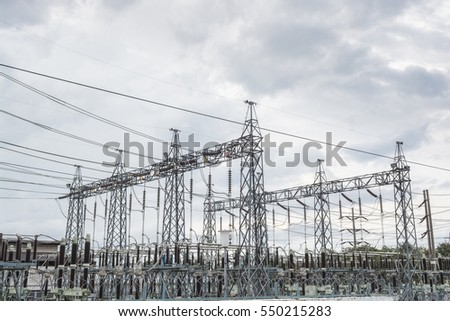 Substation  power-plant transformer station .