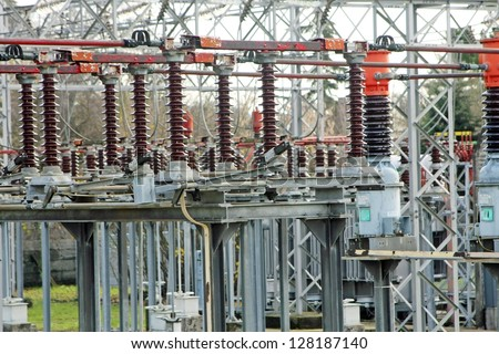 substation with big switches and breakers to operate the electric current - stock photo