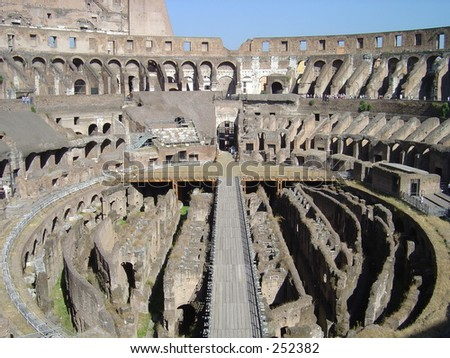 Subterranean corridors in Rome's Coliseum. - stock photo