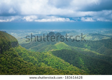 Subtropical rainforest and mountains in Springbrook national park, Queensland, Australia - stock photo