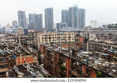 Suburb rooftops of Kunming city in China - stock photo