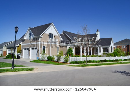 Suburban American New England Style Dream Home - stock photo