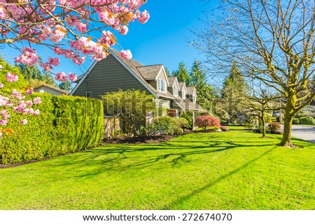 Suburban custom built house in a residential area of Vancouver, Canada. Cherry trees blossoms on a sunny day in spring - stock photo
