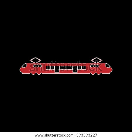 Suburban electric train. flat symbol pictogram on black background. red simple icon with white stroke