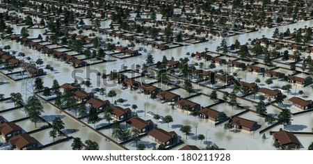 Suburban flooding in the wired society - stock photo