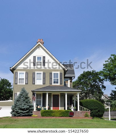 Suburban Gable Style Home For Sale Real Estate Sign Residential Neighborhood