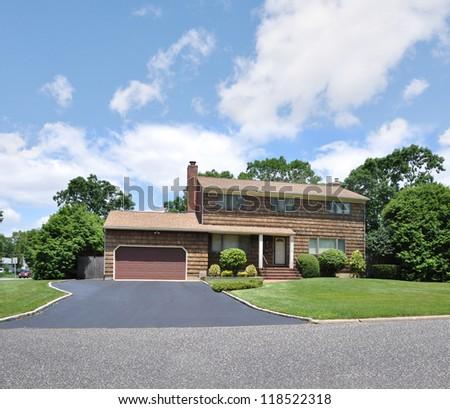 Suburban home stock photo for High ranch house