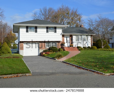 Suburban home autumn day residential neighborhood USA - stock photo