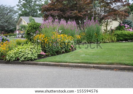 Suburban Home Flower Garden Front Yard Lawn Curb Residential Neighborhood Usa