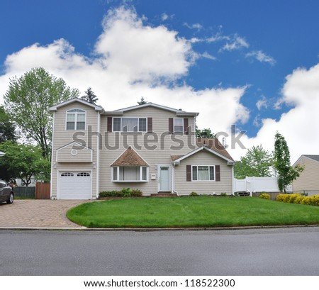 Suburban Home in residential neighborhood - stock photo