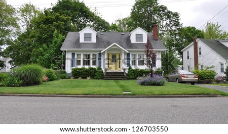 Suburban Home Landscaped Front Yard Lawn - stock photo