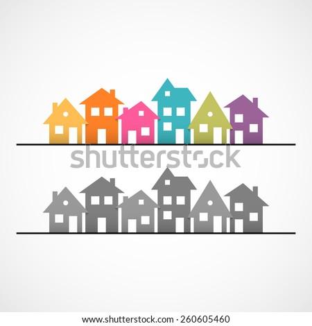 Suburban homes icon. - stock photo