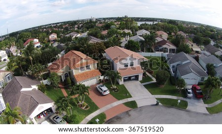 Suburban homes in Florida seen from above looking down - stock photo