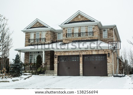 Suburban Homes in Winter - stock photo