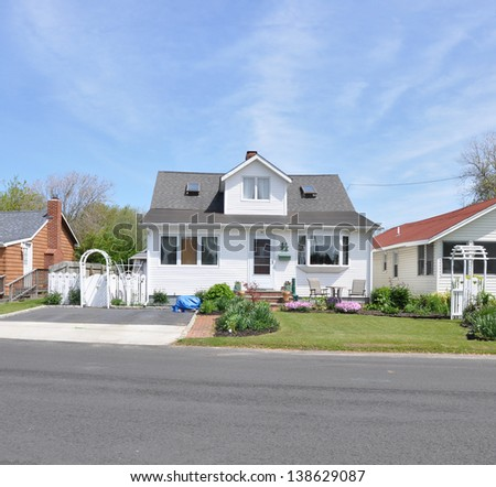 Suburban House Bungalow Home White Picket Fence Arch Gate
