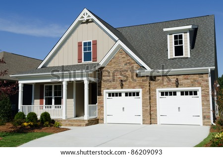 Suburban house exterior - stock photo