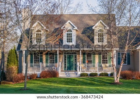 Suburban house in the early spring - stock photo