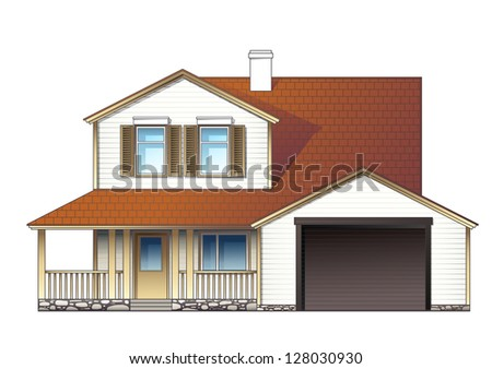 suburban house ,raster - stock photo