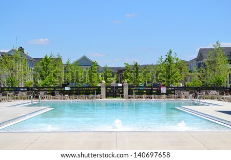 Suburban Neighborhood Community Pool - stock photo