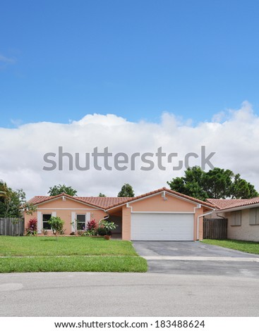 Suburban Ranch Back split style home residential neighborhood USA Blue Sky Clouds