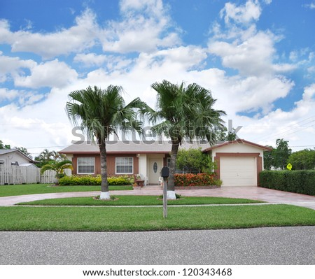 Suburban Ranch Home  Mail Box and Palm Trees Blue Sky Day with Clouds - stock photo