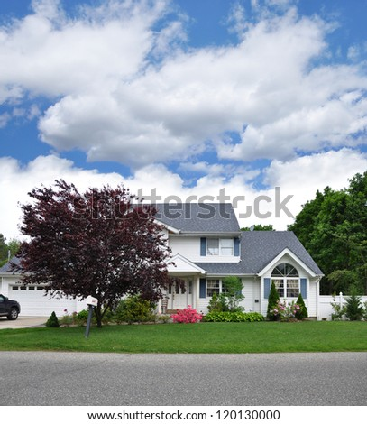 Suburban Split Level  Single Family Home with Japanese Maple Tree on residential neighborhood street - stock photo