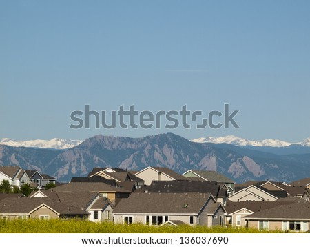 Suburban subdivision in town of Erie, Colorado. - stock photo