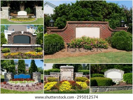 Suburban subdivisions entrances collage - stock photo
