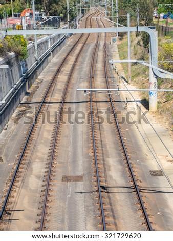 Suburban train line in the suburb of Boronia in Melbourne, Australia. - stock photo