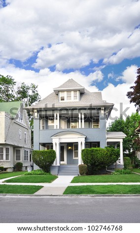Suburban Victorian Home in Residential Neighborhood