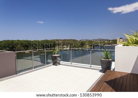 Suburban view from sunny balcony - stock photo