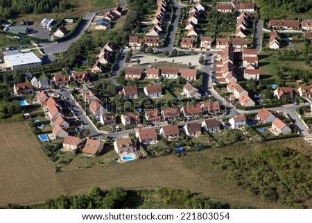 suburbs in french country aerial view - stock photo
