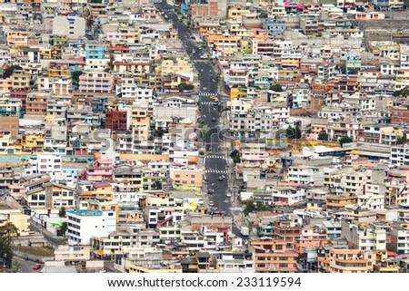 Suburbs of Quito from Panecillo hill, Ecuador - stock photo
