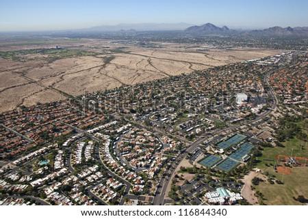 Suburbs of Scottsdale, Arizona meet the Salt River Pima-Maricopa Indian Community - stock photo