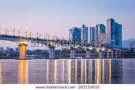 Subway and Bridge at Hanriver in Seoul, South korea - stock photo