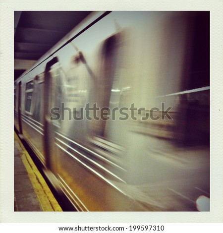 Subway car traveling in motion underground in New York City with Instagram effect filter. - stock photo