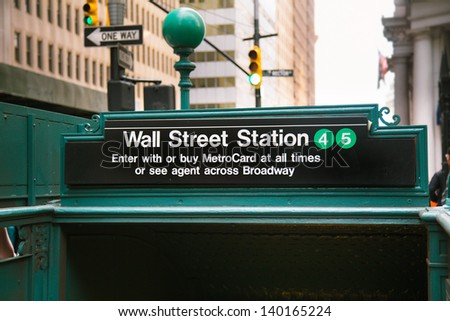 Subway entrance in Lower Manhattan at Wall Street - stock photo