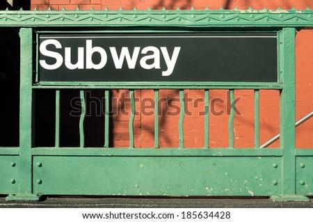 Subway entrance - New York City style - stock photo