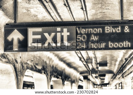 Subway exit sign in New York. - stock photo