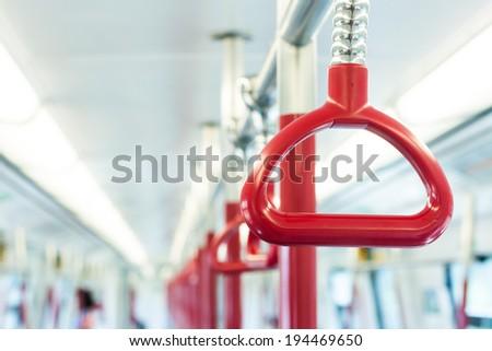 subway handrail - stock photo