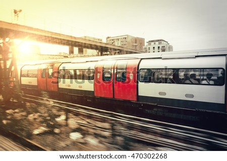 Subway heading to the center of the London - abstract motion blur shot.