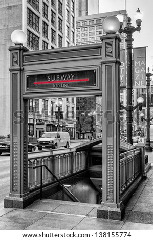 Subway in Chicago the Red-line - stock photo